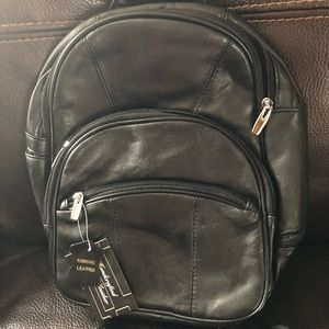 Soft leather backpack style bag